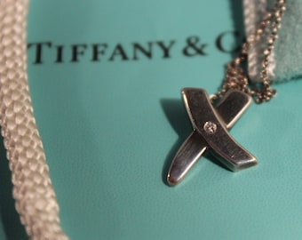 "Tiffany & Co Paloma Picasso Kiss Diamond Pendant Necklace Authentic Tiffany Sterling Diamond Silver Necklace 16"" Long Tiffany Silver Jewelry"