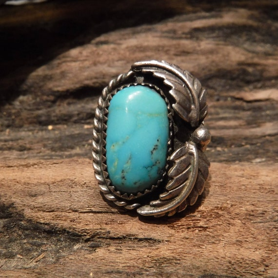 Vintage Silver Ring Large Turquoise Ring Sterling  Silver Navajo Native American 6.7 Grams Size 5 Sterling Silver Turquoise  Mens Ring