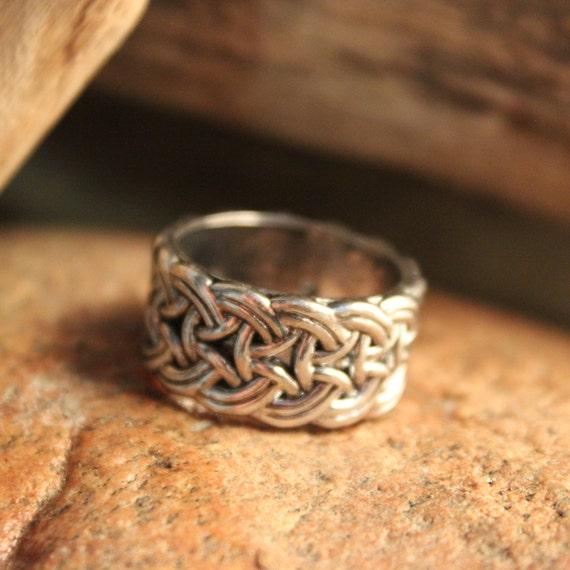 Mens Viking Ring Silver Viking Band Ring Norse Ring Celtic Ring 9.7 Grams Size 10 Viking Band Ring Mens Silver Rings Mens Vikings Rings