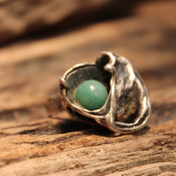"""Vintage Deco Handmade Sterling Silver Old Jade Flower Ring  7/8"""" x 7/8"""" Heavy 12.6 grams in Weight Size 7.75 Stamped Sterling  Handmade Ring"""