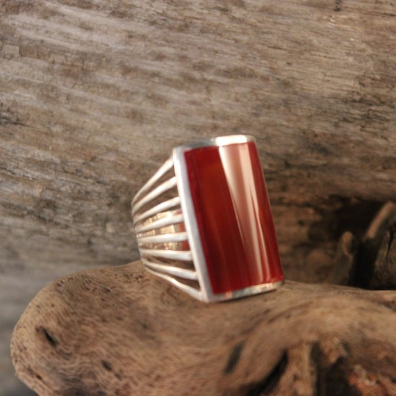Large Carnelian Ring Mexico Sterling Silver Carnelian Ring Heavy 8.7 Grams Size 6 Vintage  Rings Large Vintage Mens Silver Rings Mens Rings