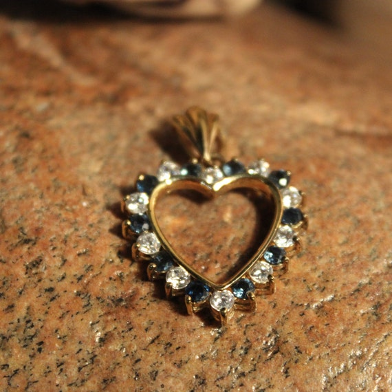 "Vintage Sterling Silver Heart Pendant Blue Kyanite & White Topaz 4.3 Grams 1"" x 1. 1/4"" Sterling Silver 14K Gold Large Open Heart Pendant"