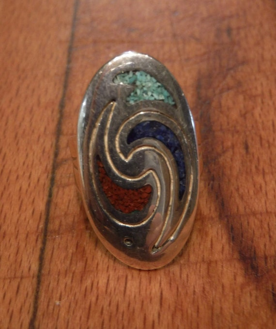 Large Navajo Native American Sterling Silver Ring Weight 9.1 grams Size 6  Turquoise Sterling Silver Ring  Native American Ring Vintage Ring