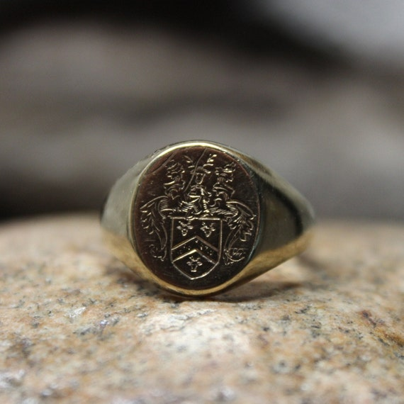 Vintage English Crest Ring 9k Gold Mens Signet Rin