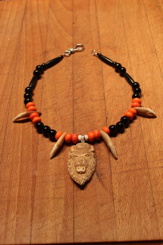 "Wolf Tooth Necklace 19"" Carved Bone Buffalo Head Pendant Large Wolf Teeth Black Buffalo Hair Pipe Orange White Turquoise Coral Wolf Necklace"