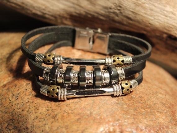 """Hippy Leather Bracelet Surfers Bracelet Leather Bracelet 7.5"""" African Beach Leather Beaded  Bracelets Friendship Bracelets Mens Bracelets"""