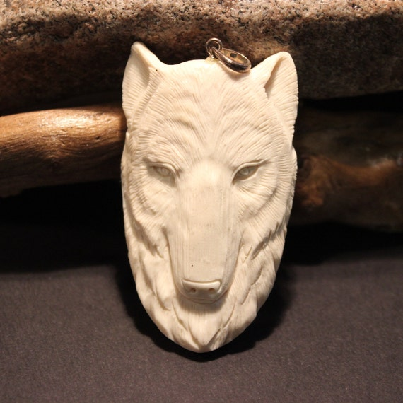 Wolf Pendant Necklace Large Carved Bone Wolf Pendant Native Pendant Carved Bone Pendant Native American Large Wolf Pendant Carved Pendant