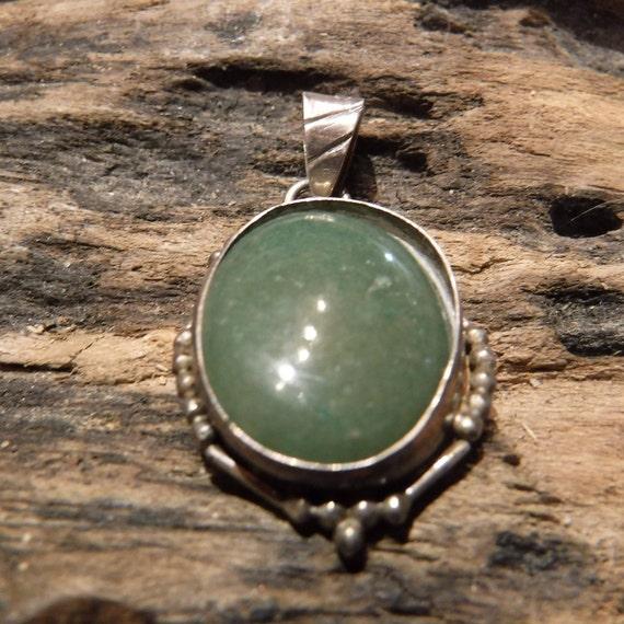 Vintage Navajo Native American Silver Pendant Sterling Silver Green Agate Pendant Necklace 6.8 Grams Vintage Sterling 925 Unisex Pendant