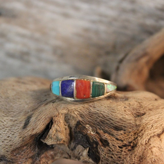 Vintage Zuni Native American Silver Ring Weight 2.5 Grams Size 6  Singed M Lalio Turquoise Ring Coral Opal Ring Sterling Silver Vintage Ring