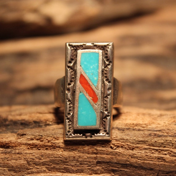 Vintage Large Sterling  Silver Ring Navajo Native American 10 grams Size 6 large Sterling Silver Turquoise Coral Inlay Ring Sterling Silver