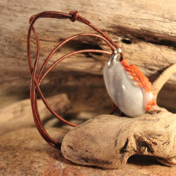 Hand Carved Pendant Necklace Large Natural Stone Pendant lobster carved Pendant Handmade Pendant Necklace Handmade Pendant Natural Pendant