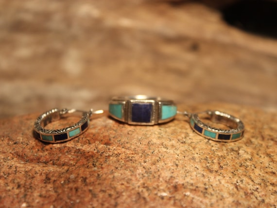 Vintage Contemporary Sterling Silver Ring & Earring Set 9.9 grams Ring Size 8 Large Silver Hoop Earrings Ring Blue Lapis Turquoise Ring Set