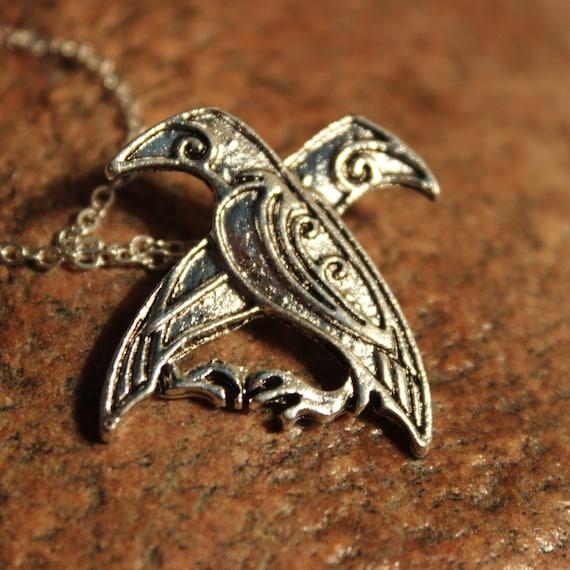 """Odin Norse Viking Raven Pendant Necklace Nordic Raven Pendant Huginn Muginn Necklace Norse Pendant 5.1 Grams 20"""" Viking Oden Raven Pendant"""