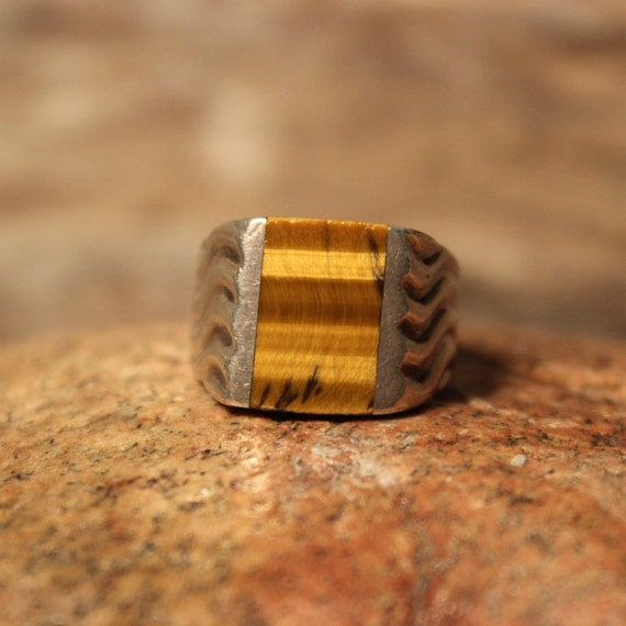 Sterling Mens Ring Mexico Large Tigers Eye Ring Signed Ring 10.5 Grams Size 9 Stamped 925 Vintage Sterling Ring Mexican Silver Vintage Ring