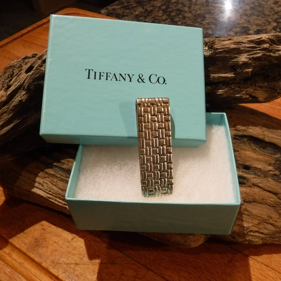 Authentic Vintage Tiffany & Co Weave Pattern Sterling Silver Money Clip   Sterling Silver 23.9 Grams Tiffany  Tiffany Jewelry Sterling Clip