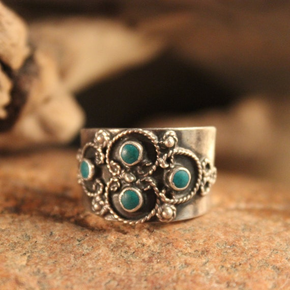 Sterling Mexico Large Turquoise Inlay Ring Mens Ring Heavy 6.1 Grams Size 9 Vintage Mens Rings Vintage Ring Mexican Vintage Ring Mens Rings