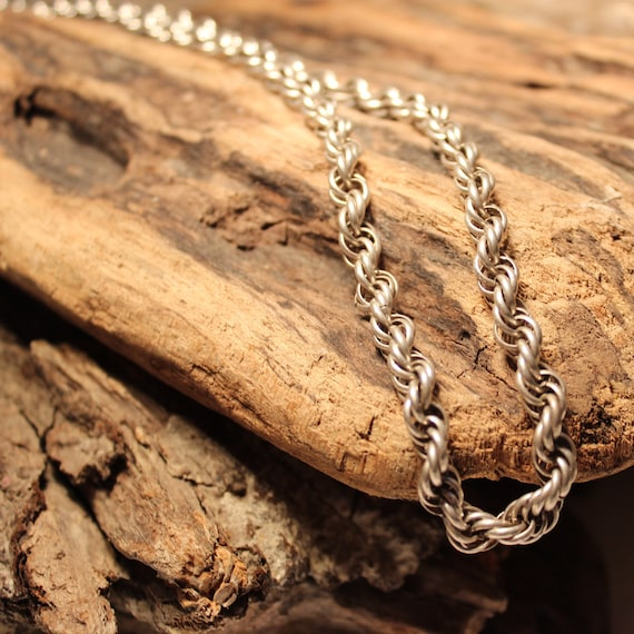 """Sterling Silver Rope Chain 47.5 Grams Vintage 26"""" Heavy Solid Sterling Silver Necklace Hallmark Signed Vintage Sterling Silver Necklace 925"""