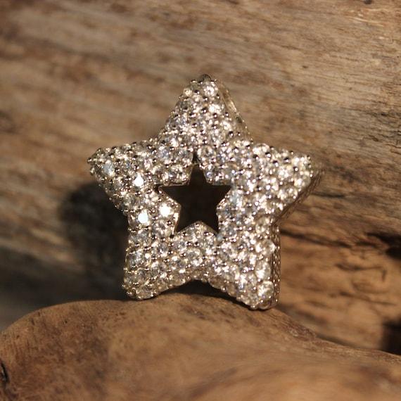 """Vintage Large Sterling Silver Star Pendant Crystal Star Pendant 9.4 Grams 1. 1/4"""" x 1. 1/4"""" Sterling Silver Star Large Silver Star Pendant"""