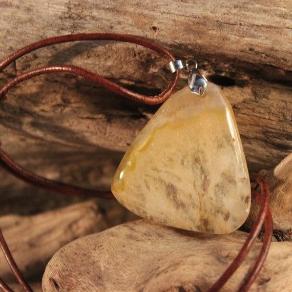Hand Carved Pendant Necklace Large Natural Stone Pendant Lemon Druzy Pendant Handmade Pendants Necklace Handmade Pendant Natural Pendant