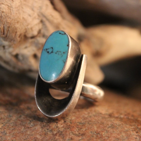Sterling Mexico Large Turquoise Vintage Ring 12.6 Grams Size 6.25 Vintage Silver Rings Vintage Mens Rings Mexican Vintage Rings Womans Rings