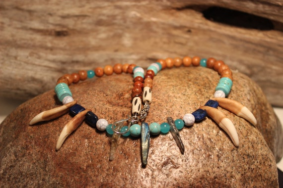 "Wolf Tooth Necklace 19"". Turquoise Blue Lapis Aquamarine South African Blue Topaz Wood. African.Native American Tribal Spiritual Healing"