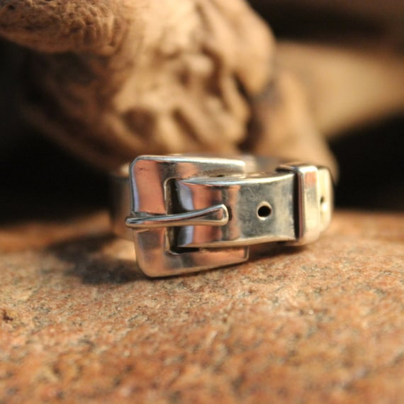 Mens Rings Large Silver Buckle Ring Sterling Silver Ring 12 Grams Size 9 Sterling Buckle Rings Mexico Silver Mens Rings Vintage Silver Ring