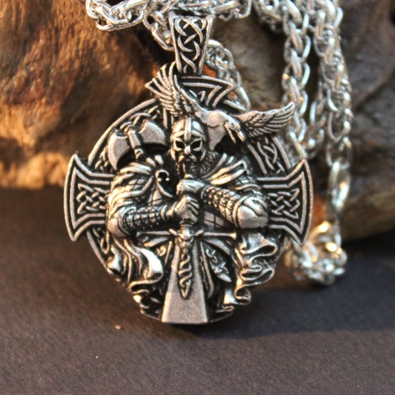 "Norse Viking Odin by Helena Rosova Necklaces Heathen Cross Raven Pendant Necklace Vikings Jewelry Odin Norse Viking 58 Grams 24"" Viking"
