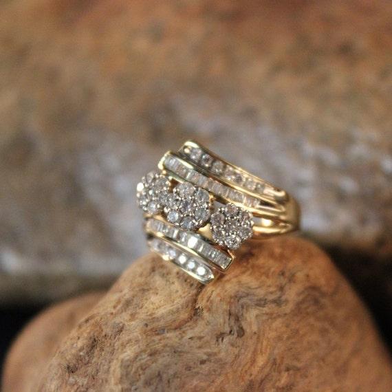 Diamond Ring 10K Solid Yellow Gold .65ctw Diamond
