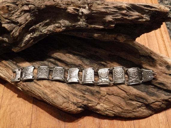 "Vintage Heavy Peruvian Inca 900 Silver Panel Bracelet Heavy 50 grams 7"" Long 3/4"" Wide Signed  900 Peruana Handmade Silver Panel Bracelet"