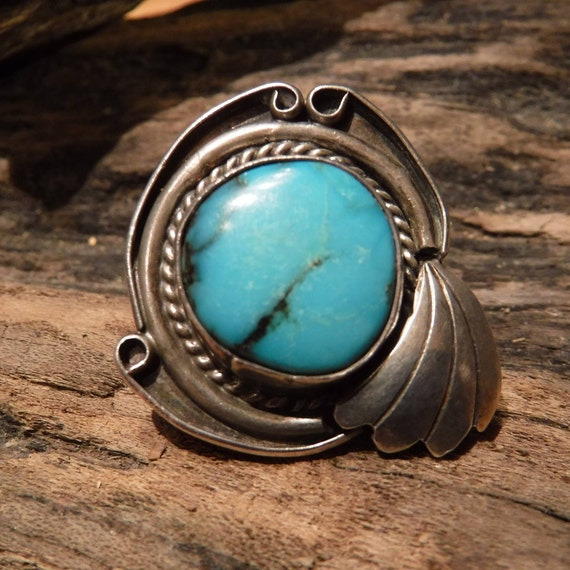 Vintage Large Turquoise Ring Sterling  Silver Navajo Native American Heavy 10.2 Grams Size 7.5 Sterling Silver Turquoise  Mens Ring Sterling