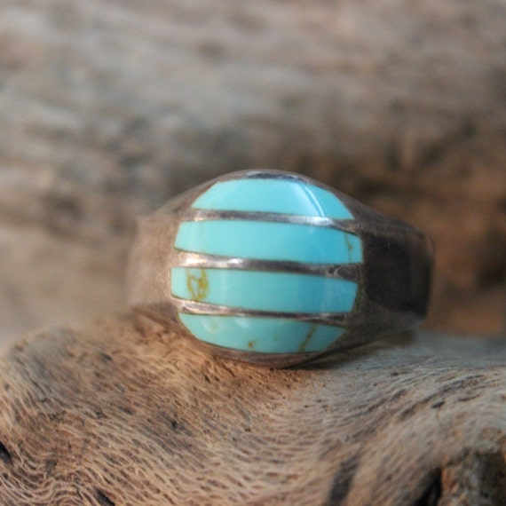 Sterling Mexico Large Turquoise Vintage Ring 16.8 Grams Size 14 Large Mens Silver Ring Vintage Mens Rings Mexican Rings mens Turquoise Rings