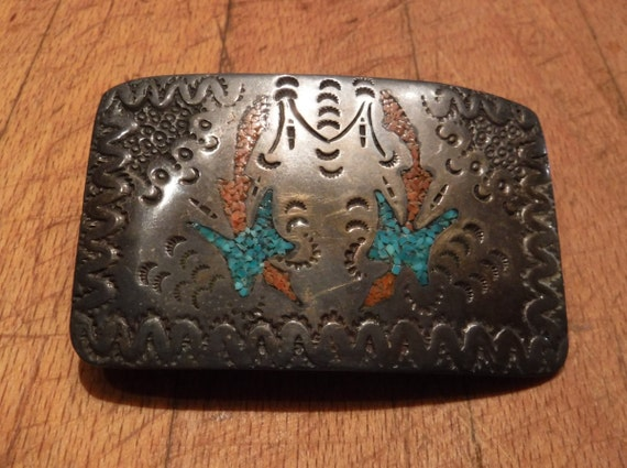"Vintage Zuni Sterling Silver Belt Buckle Signed C Heavy 43 grams 2"" x  3"" Native American Belt Buckle Peyote Birds Turquoise Coral Inlay"