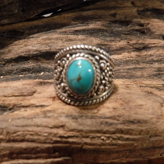 Vintage Carolyn Pollack Turquoise Silver Ring Southwestern Mens Rings Large Turquoise Ring Size 6.25 Heavy 11.1 Grams Mens Rings Unisex Ring