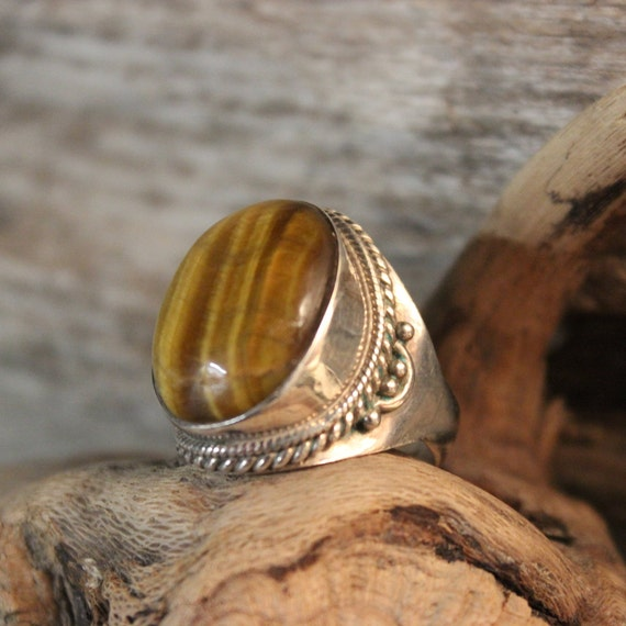 Sterling Mexico Large Tigers Eye Ring Mens Ring Heavy 11 Grams Size 7.5 Stamped 925 Vintage Sterling Ring Mexican Vintage Ring Mens Rings