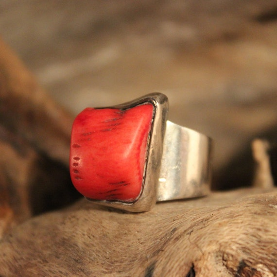 Large Vintage Coral Ring Sterling Silver Ring 12.3 Grams Size 8 Silver Coral Ring Mexico Silver Vintage Mexico Silver Mens Ring Womans Ring