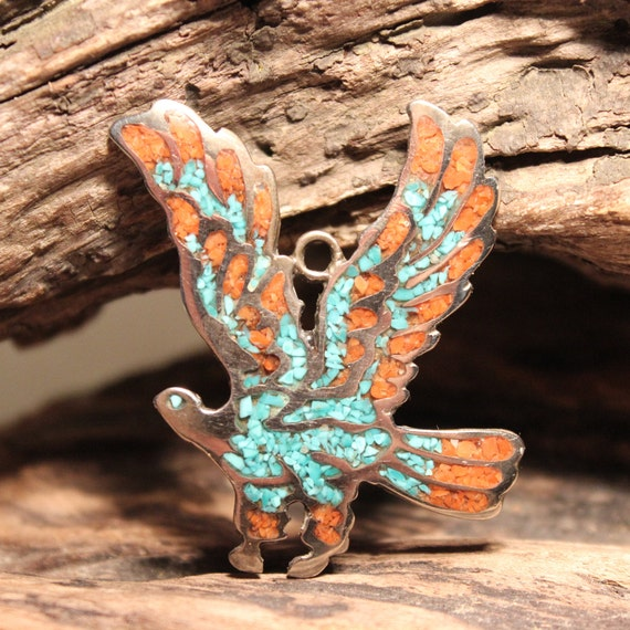 Large Vintage Navajo Turquoise & Coral Eagle Necklace Pendant  10.8 Grams Sterling Silver Native American 925 Turquoise Coral Navajo Pendant