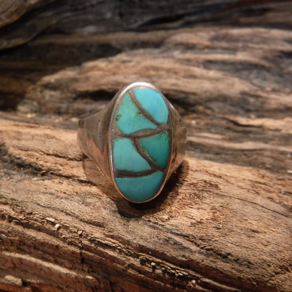 Mens Ring Sterling Silver Navajo Native American 10.5 grams Size 7 Mens large Silver Navajo Vintage Turquoise  Ring Mens Jewelry Mens Ring
