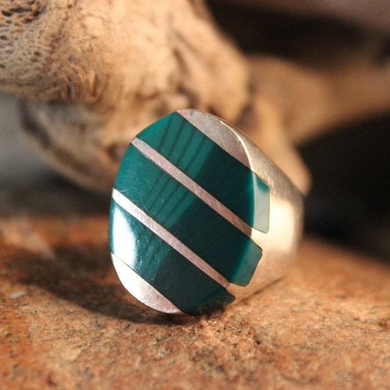Sterling Mexico Large Green Malachite Mens Ring Heavy 20.1 Grams Size 9.5 Vintage Mens Rings Vintage Ring Mexican Vintage Ring Mens Rings