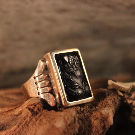Mens 10K Rose Gold Ring Greek Goddess Ring Size 10.5 Vintage Mens 10K Gold Onyx Ring 5.8 Grams Roman Cameo Gold Ring Mens Ring Men Gold Ring