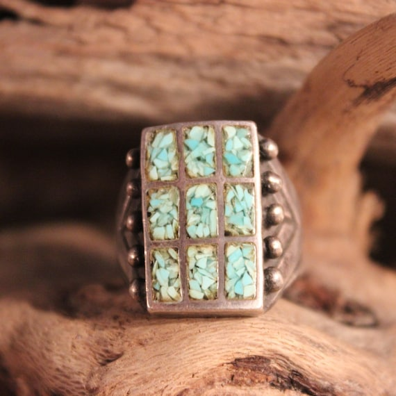 Large Mens Ring Navajo Sterling Silver Turquoise Chip Inlay Ring Heavy 12 gram Size 6 Silver Ring Southwestern Vintage Sterling Silver Ring