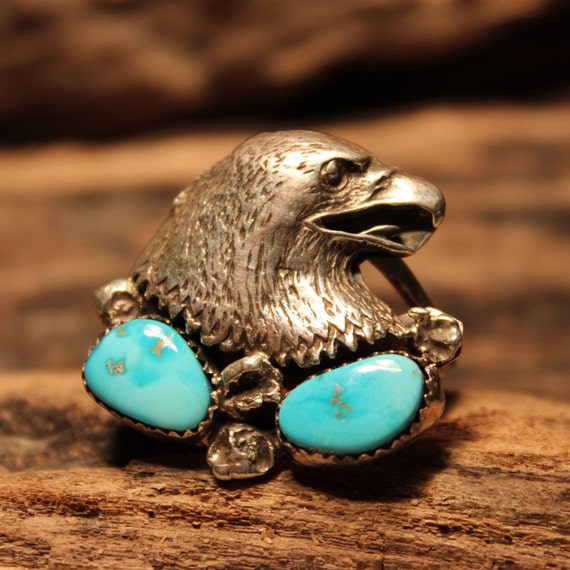 Mens Rings Eagle Kingman Turquoise  Ring Navajo Native American Size 11 Mens Ring Eagle Turquoise Ring 11.5 grams Silver Signed M Sterling