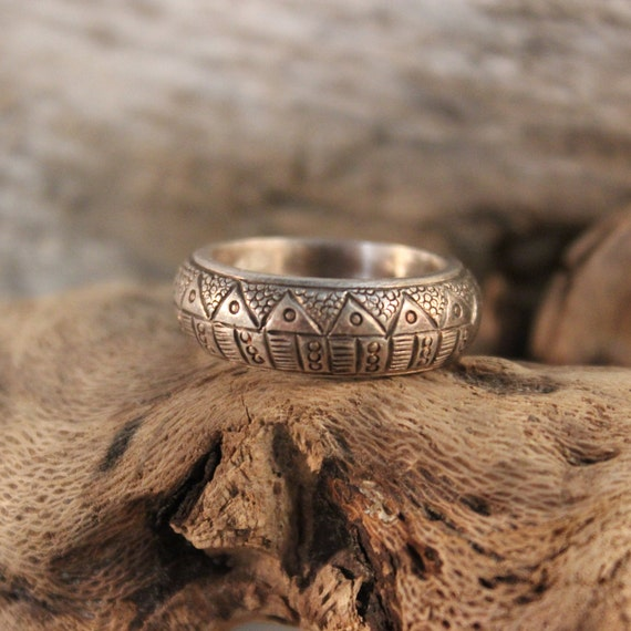 Vintage Mexico Storyteller Ring Size 6 Mexican Mens Silver Rings Sterling Silver Vintage Storyteller Ring 9.4 Grams Vintage Storyteller Ring