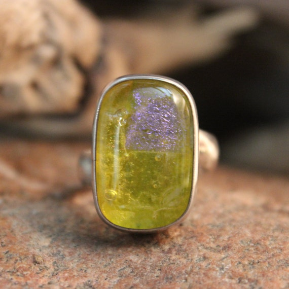 Vintage Large Sterling Ring Silver Dichroic Glass Ring  Size 9 Heavy 12 Grams Mens Vintage Rings Vintage Silver Rings Unisex Silver Ring
