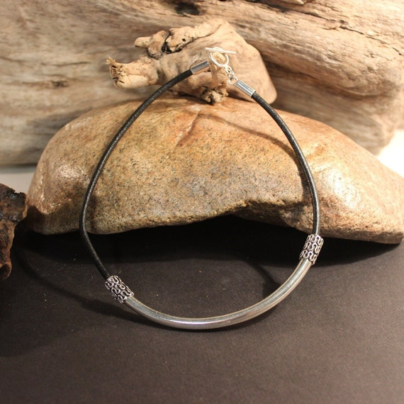 "Vintage Sterling Silver Viking Choker Necklace Viking Necklace Celtic Torque Leather Necklace Sterling Silver 27.9 Grams 17"" Vintage viking"