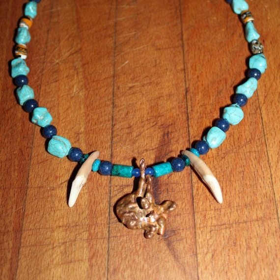 "Wolf Tooth Necklace 20"" Arizona Mined Natural Copper Nugget African Topaz Azurite Chrysocolla Blue Sapphire Turkey, Blue Turquoise Jade"