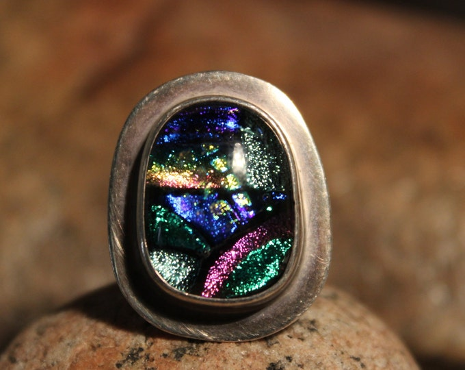 Vintage Large Sterling Silver Dichroic Glass Ring Mexico Vintage Rings Size 8 Weight 12.7 grams Men Ring Jewelry Unisex Ring Vintage Silver