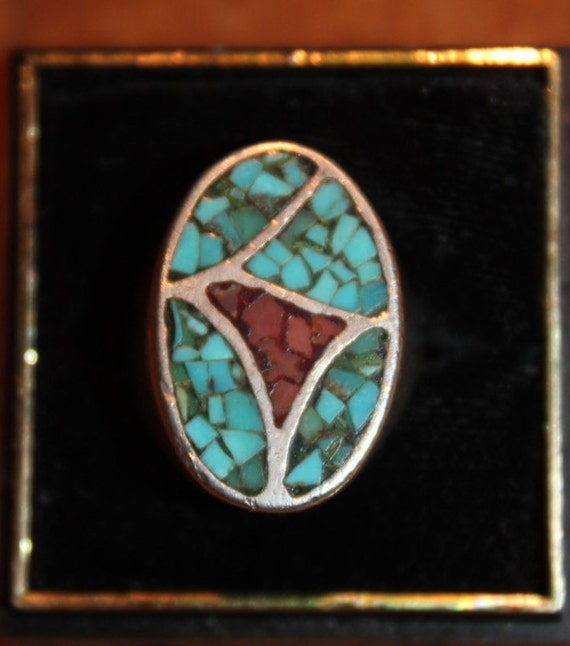 Vintage Large Sterling  Silver Ring Navajo Native American Heavy 9.1 grams  Mens large Sterling Silver Turquoise Coral Inlay Ring Sterling