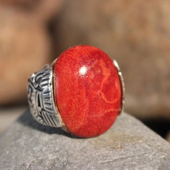 Large Vintage Coral Ring Sterling Silver Ring 10 G