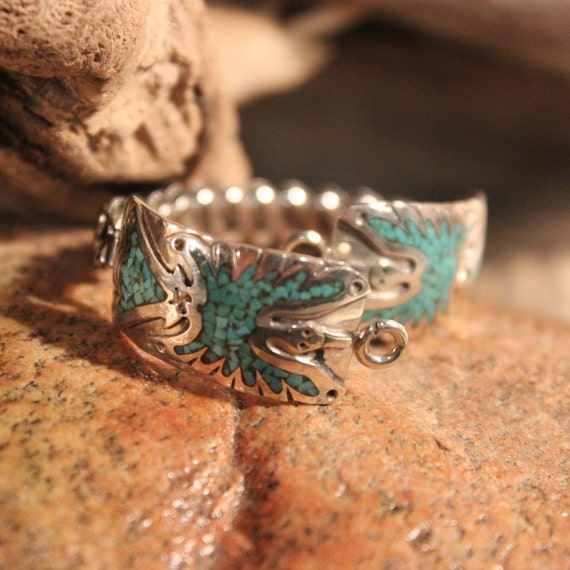 Native American Watch Tips Navajo Vintage Sterling Silver Peyote Bird Turquoise Sterling Watch Tips 10.2 Grams Navajo Turquoise Watch Tips