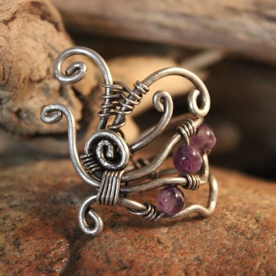 Vintage Amethyst Silver Ring Sterling Silver Ring Size 8 Weight 13.8 Grams Ladies Vintage Rings Ladies Vintage Jewelry Silver Amethyst Ring